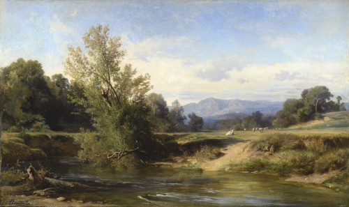 Achille Benouville (1815 - 1891) - The Teverone At Lunghezza, Near Rome - Paintings & Drawings Style Napoléon III