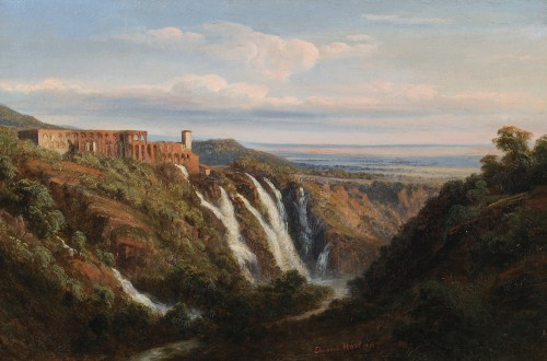 Édouard HOSTEIN (1804–1889) - Tivoli view of the Maecenas Palace - Paintings & Drawings Style Louis-Philippe