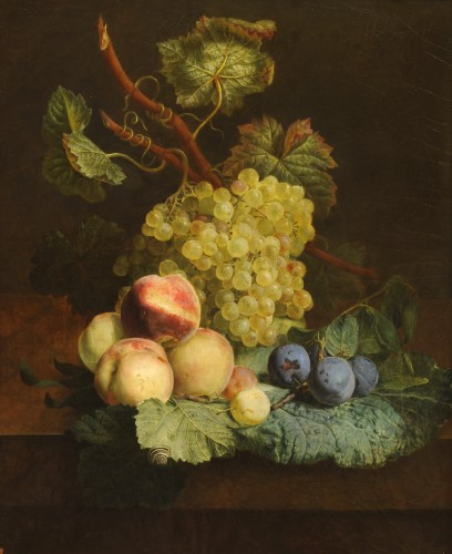 Jean-François VAN DAEL (1764-1840) - Grapes, peaches, and plums - Paintings & Drawings Style Empire