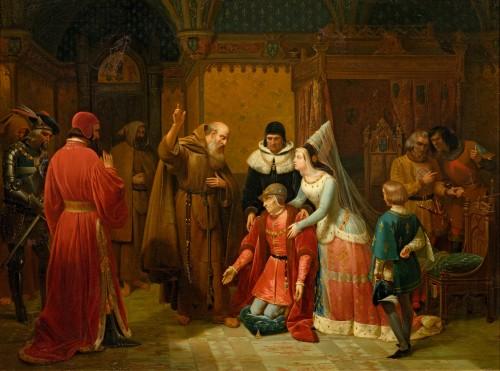 Nicolas GOSSE - Louis XI kneeling in front of Saint François de Paule - Paintings & Drawings Style