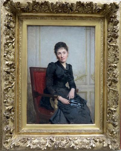 Édouard CABANE (1857 – c. 1942) - Portrait of a young woman with a fan