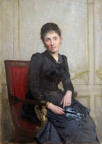 Édouard CABANE (1857 – c. 1942) - Portrait of a young woman with a fan - Paintings & Drawings Style Napoléon III