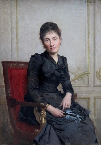 Édouard CABANE (1857 – c. 1942) - Portrait of a young woman with a fan -