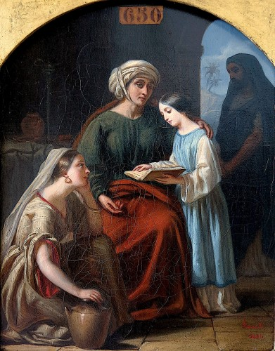 Louis FANELLI SEMAH (1804–1875) - The education of the Virgin - Paintings & Drawings Style Louis-Philippe