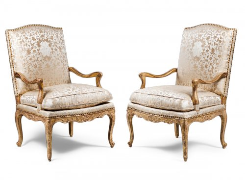 Pair of Gilded Wood High Back Armchairs