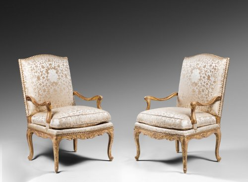 Pair of Gilded Wood High Back Armchairs - Seating Style French Regence