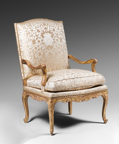 Seating  - Pair of Gilded Wood High Back Armchairs