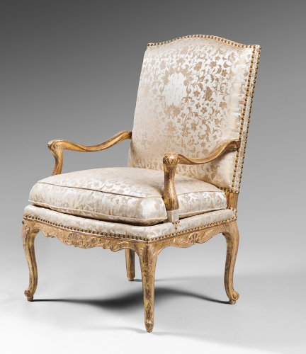 Pair of Gilded Wood High Back Armchairs -