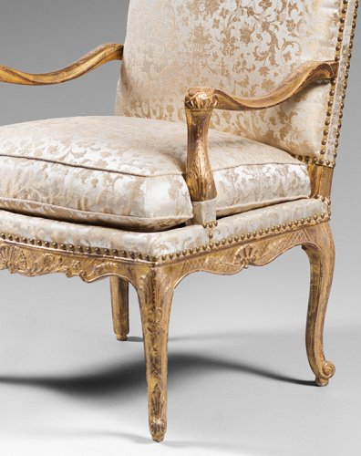 Pair of Gilded Wood High Back Armchairs - French Regence