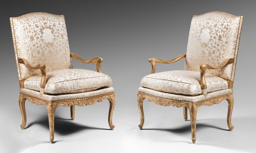 French Regence - Pair of Gilded Wood High Back Armchairs