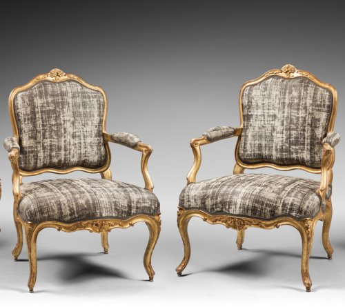 """Seating  - Set of Four Gilded Wood """"à la Reine"""" Armchairs"""