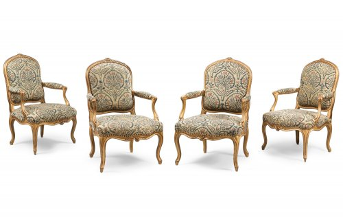 "Set of Six Gilded Wood ""à la Reine"" Armchairs"