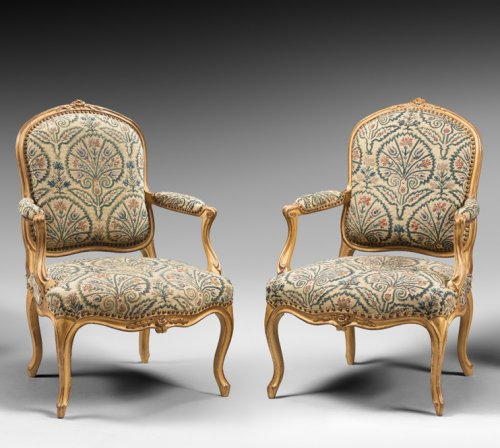"Seating  - Set of Four Gilded Wood ""à la Reine"" Armchairs"
