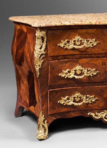 "Furniture  - Kingwood Plated ""Commode Tombeau"" by Jean-Charles Saunier"