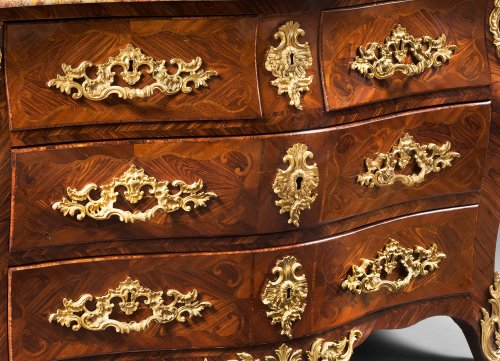"Kingwood Plated ""Commode Tombeau"" by Jean-Charles Saunier -"