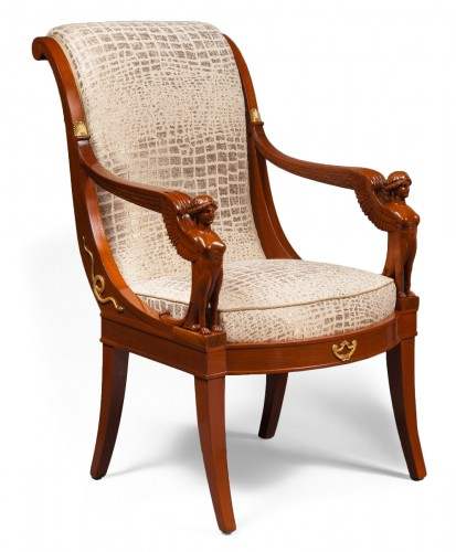 Suite of Four Mahogany Scroll Back Armchairs