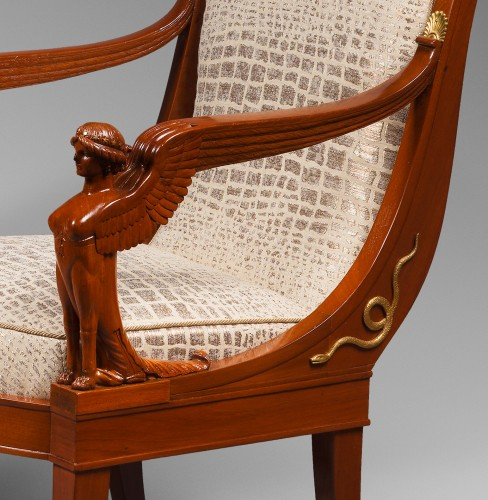 Seating  - Suite of Four Mahogany Scroll Back Armchairs