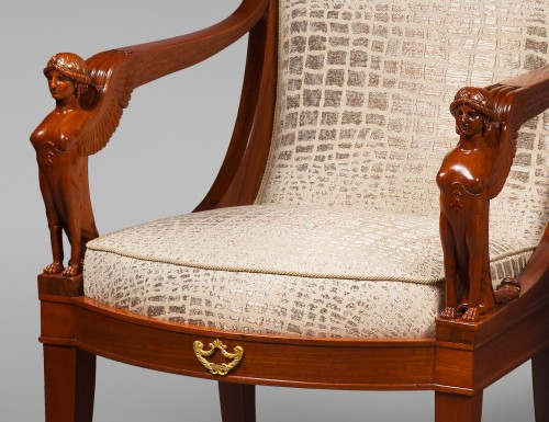 Suite of Four Mahogany Scroll Back Armchairs -