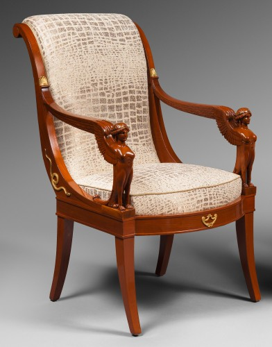 19th century - Suite of Four Mahogany Scroll Back Armchairs