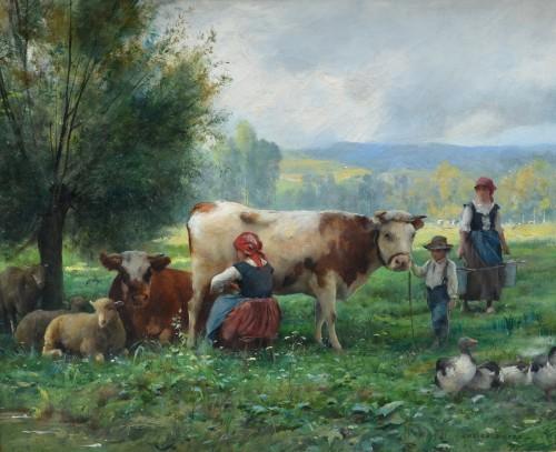 Julien Dupré (1851-1910) - The Milking - Paintings & Drawings Style