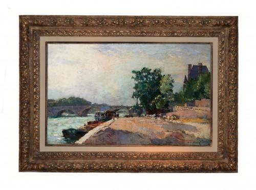 Albert Lebourg (1849-1928) - Dock of the Seine in Paris... - Paintings & Drawings Style