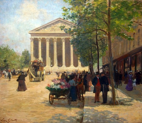 Victor Gilbert (1847-1933) - Flower Market, rue Royale in Paris