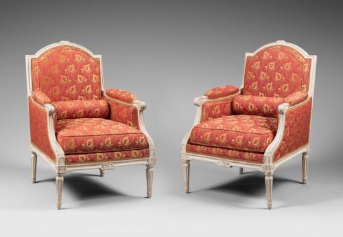 """Pair of """"à la Reine"""" Armchairs - Jean-René Nadal, dit l'Aîné - Seating Style Louis XVI"""