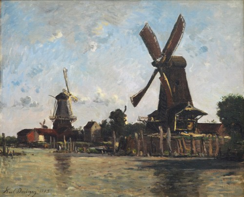 Karl Daubigny (1846-1886) - Windmills on a River Bank, the Netherlands, 1875