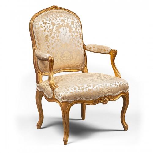 Set of Six Gilded Wood Armchairs by Jean-Baptiste Lebas