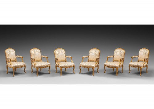 Set of Six Gilded Wood Armchairs by Jean-Baptiste Lebas - Seating Style Louis XV