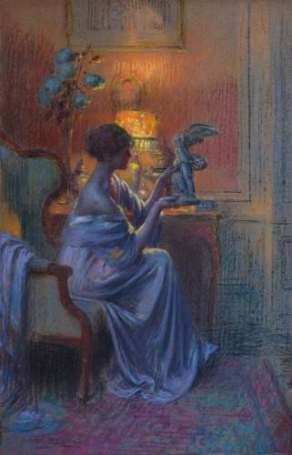 Delphin Enjolras (1857-1945) - A Young Woman Admiring a Work of Art