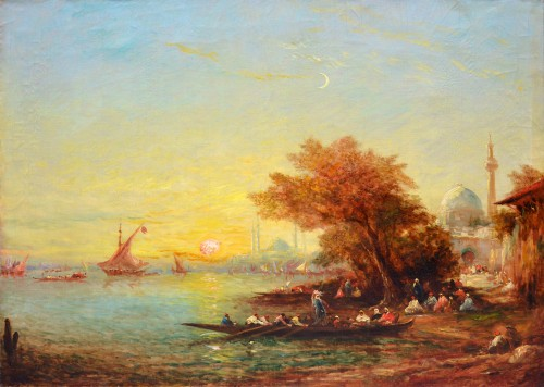Alfred Bachmann (1863-1956) - Sunset at Bosphorus