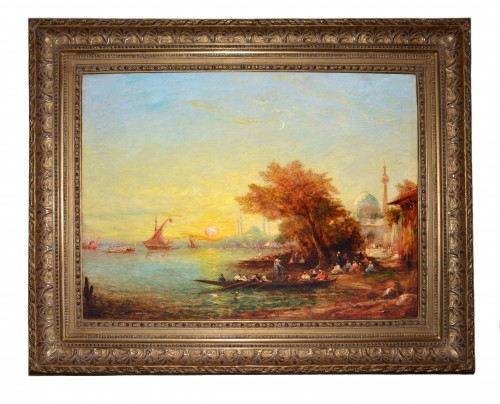 Alfred Bachmann (1863-1956) - Sunset at Bosphorus - Paintings & Drawings Style Art Déco