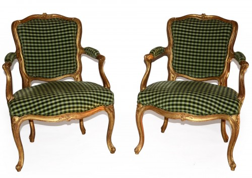 Pair of Small Giltwood Cabriolet Armchairs