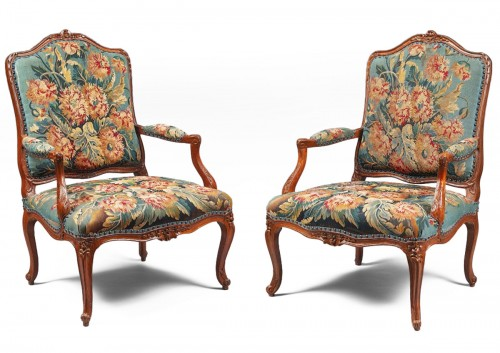 Pair of Natural Wood Armchairs Adorned with a Beauvais Tapestry