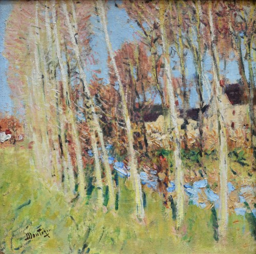 Pierre-Eugène Montézin (1874-1946) - Poplar Trees near a Stream