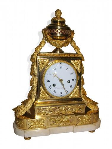 """Gilded Bronze """"Borne"""" Clock Louis XVI Period"""