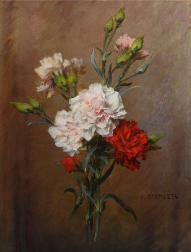 Gustave Bienvêtu (1850-1916) - Still Life of Carnations