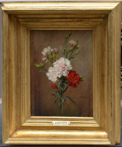 Gustave Bienvêtu (1850-1916) - Still Life of Carnations - Paintings & Drawings Style Napoléon III