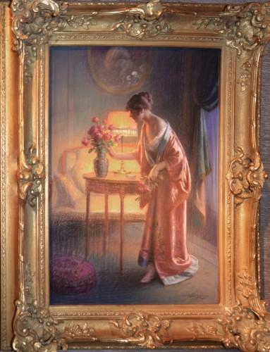 Delphin Enjolras (1857-1945) - Jeune femme au bouquet - Paintings & Drawings Style Art nouveau
