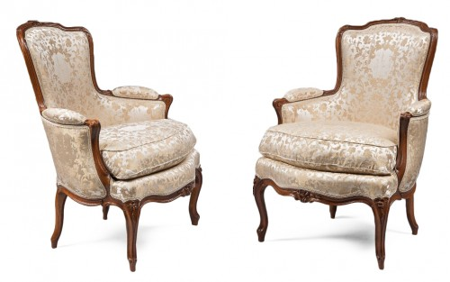 Pair of Louis XV Period Armchairs, Stamped Pierre Bara