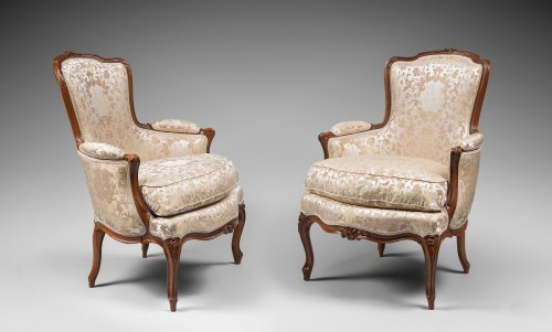 Pair of Louis XV Period Armchairs, Stamped Pierre Bara  - Seating Style Louis XV