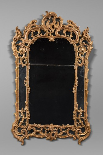 Tall Rocaille Mirror Louis XV Period - Mirrors, Trumeau Style Louis XV