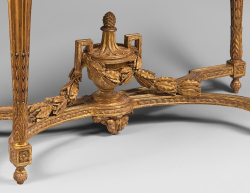 Giltwood Console Table with Rounded Sides - Furniture Style Louis XVI