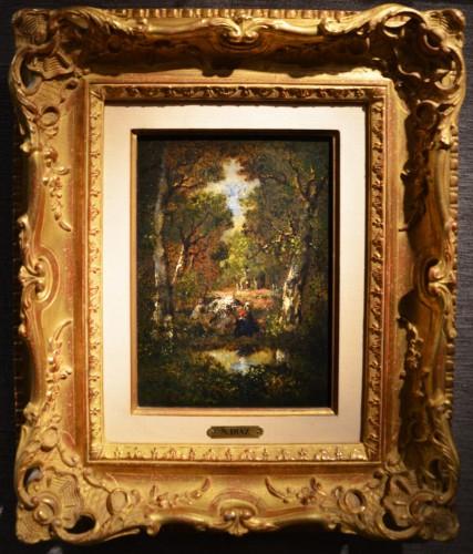Narcisse V. Diaz de la Peña (1807-1876) - Undergrowth Landscape with Woman - Paintings & Drawings Style Napoléon III