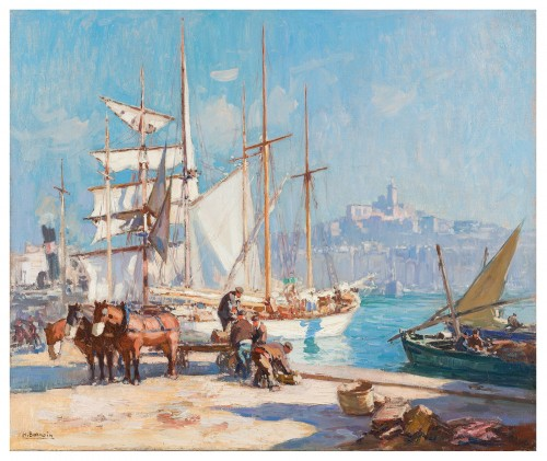 Henri-Alphonse Barnoin (1882-1940) - Italian Boat in the Port of Marseille