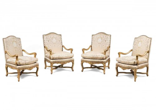 Rare Set of Four Giltwood Ceremonial Armchairs, from the Régence Period