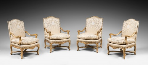 Rare Set of Four Giltwood Ceremonial Armchairs, from the Régence Period - Seating Style French Regence