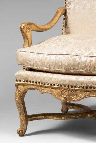 Seating  - Rare Set of Four Giltwood Ceremonial Armchairs, from the Régence Period