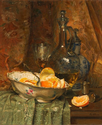 Jean-Baptiste Olive (1848-1936) Jug and Fruit